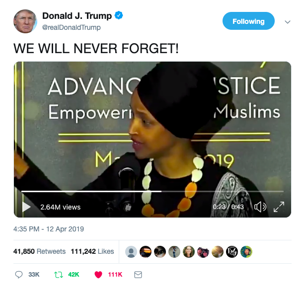 president trump calls out ilhan omar u2019s anti
